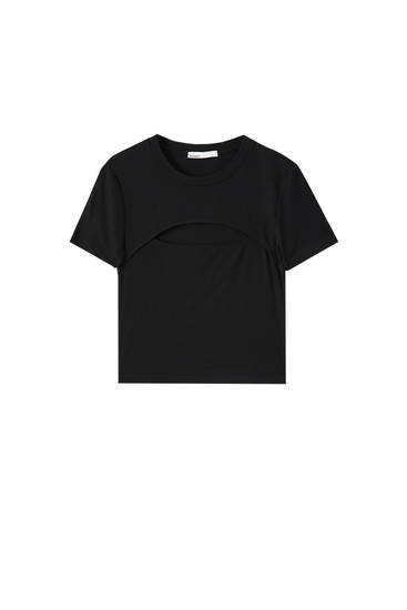Basic T-shirt with cut-out detail