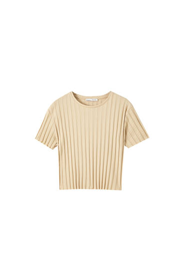 Wijd geribd T-shirt