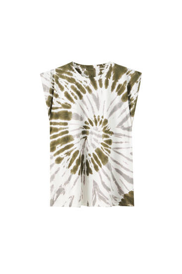 Green tie-dye T-shirt with shoulder pads