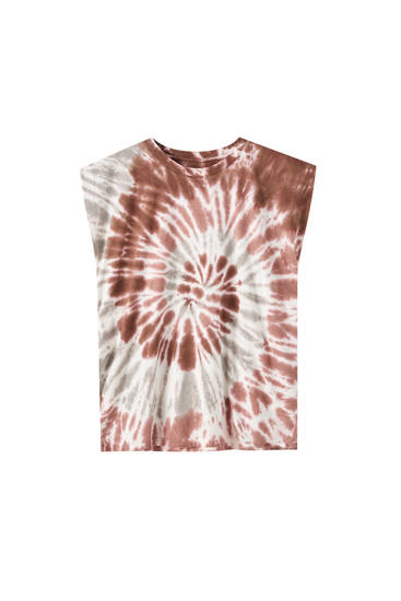 Tie-dye T-shirt with shoulder pads