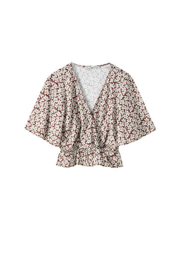 Floral T-shirt with puff sleeves