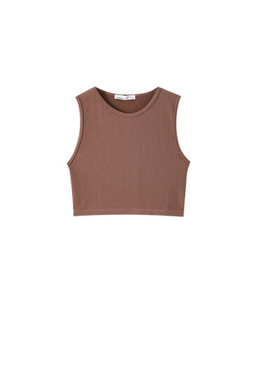 Sleeveless seamless chocolate brown top