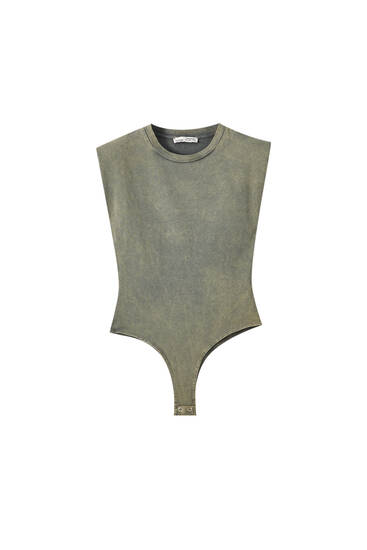 Faded bodysuit with shoulder pads