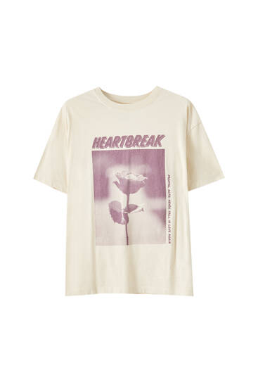 Rose illustration T-shirt with slogan