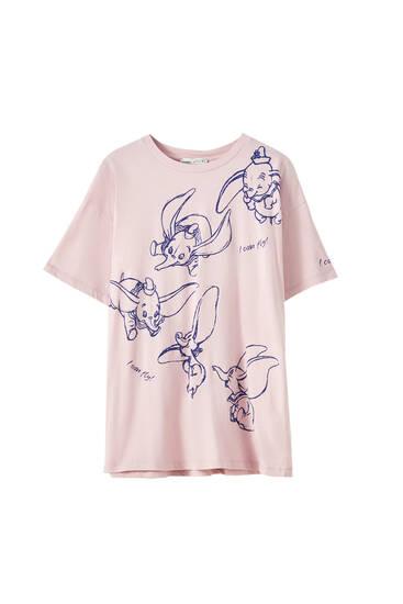 Rosafarbenes T-Shirt mit Dumbo-Motiv