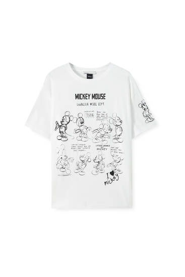 White Mickey Mouse illustration T-shirt