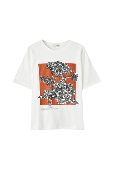T-shirt with flower illustration and slogan
