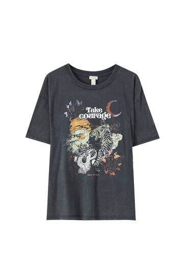 T-shirt with tiger and dragon illustration