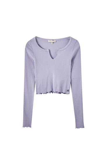 Lettuce-edge top with cut-out neckline detail