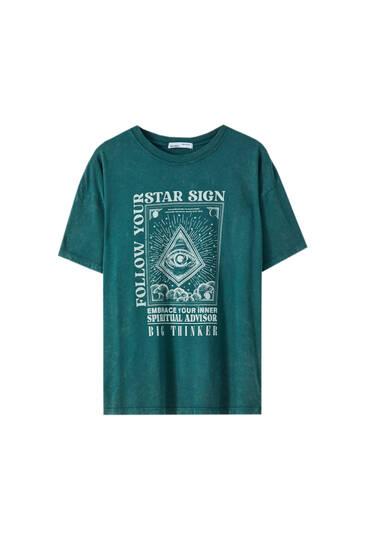Shirt mit Augenmotiv und Slogan