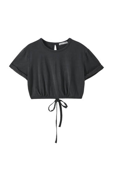 Cropped T-shirt with back tie detail