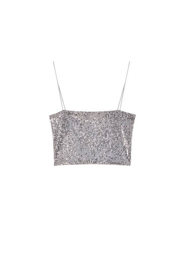 Silver sequin bandeau top