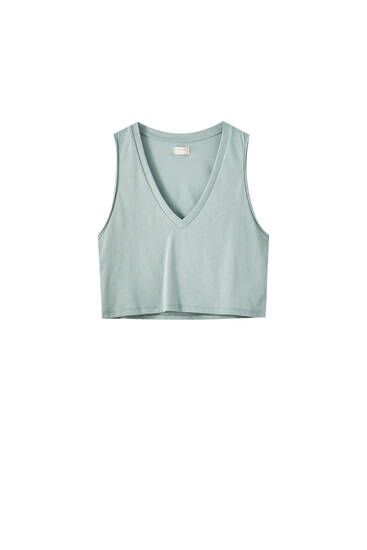 Camiseta escote pico cropped