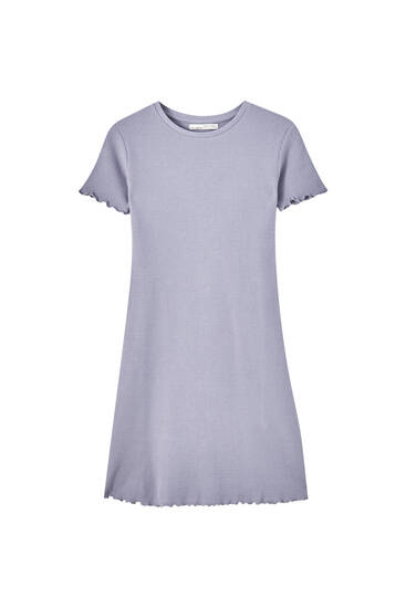 Check texture T-shirt dress