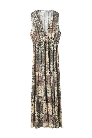 Printed patchwork maxi dress
