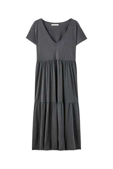 V-neck midi dress with panelled design