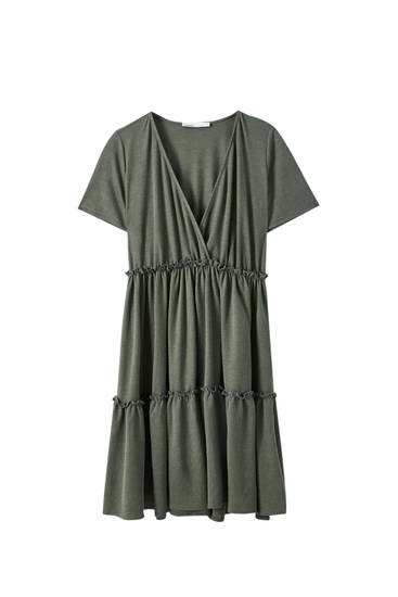 Dress with gathered crossover neckline
