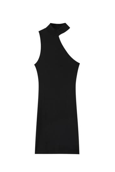 Ριμπ μαύρο ασύμμετρο φόρεμα