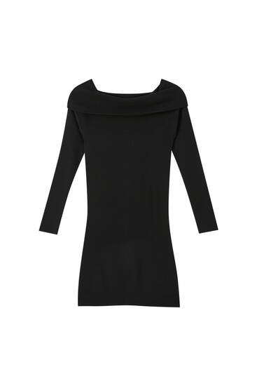Knit dress with bardot neckline