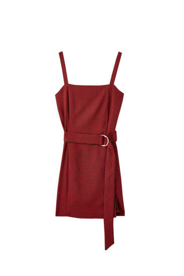 Strappy dress with fabric belt