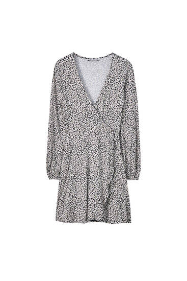Wrap dress with 3/4 sleeves