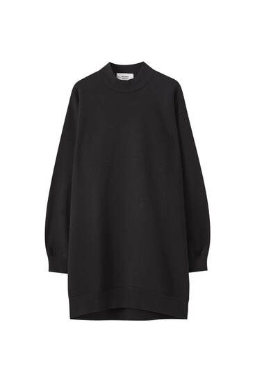 High-neck sweatshirt dress