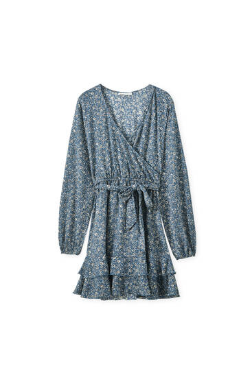 Ruffled hem print mini dress