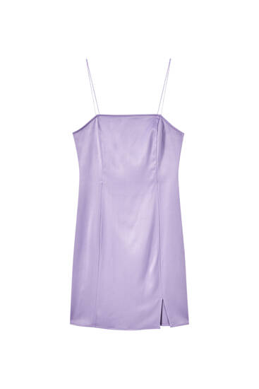 Satin purple mini dress