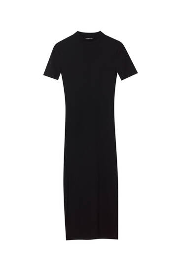 Basic mock neck midi dress