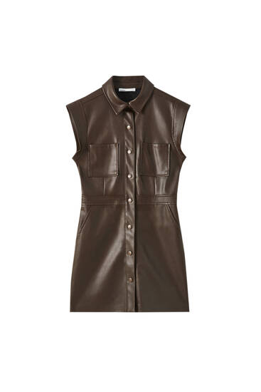 Faux leather mini shirt dress