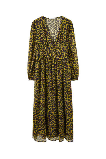 Draped leopard print dress
