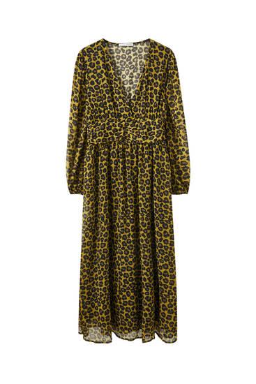 Vestido drapeado estampado leopardo