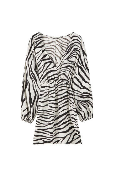 Zebra printed mini dress
