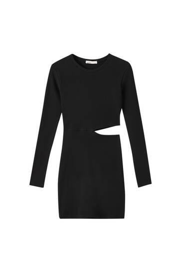 Μίνι μαύρο φόρεμα με ριμπ ύφανση και κόψιμο