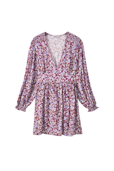 Floral print dress with elastic shoulder details