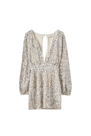 Sequin mini dress with neckline detail