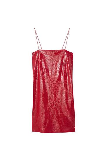 Vestido mini com lantejoulas