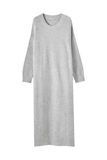 Robe oversize en maille côtelée