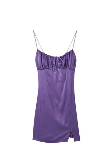 Mini šaty se štrasovými ramínky