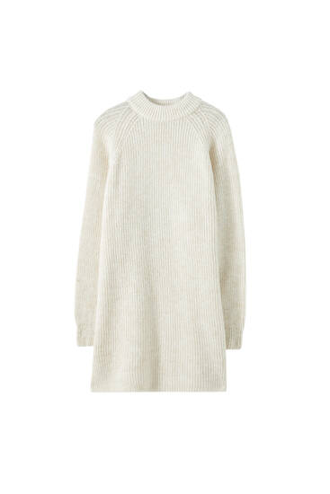 High-neck knit dress