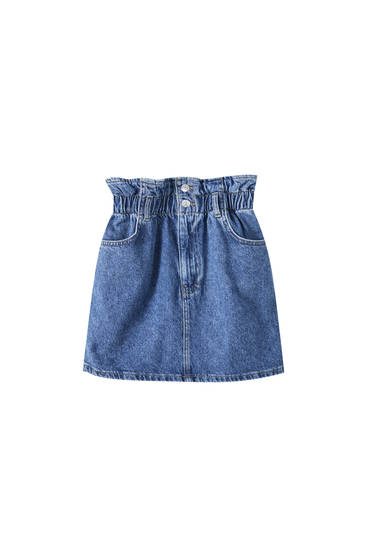 Blue denim mini skirt with shirred waist