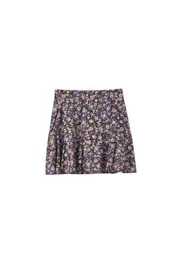 Floral skirt with ruffled hem
