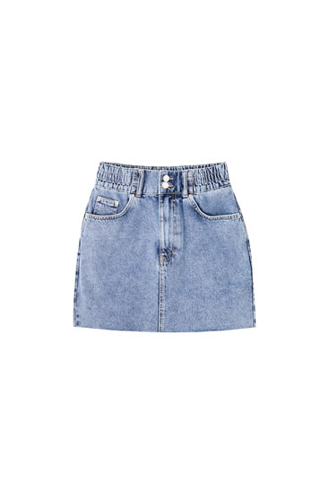 Denim mini skirt with wide elastic waist