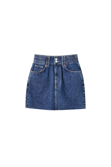 Minifalda vaquera goma ancha cintura