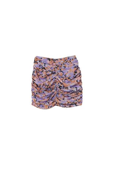 Printed gathered mini skirt