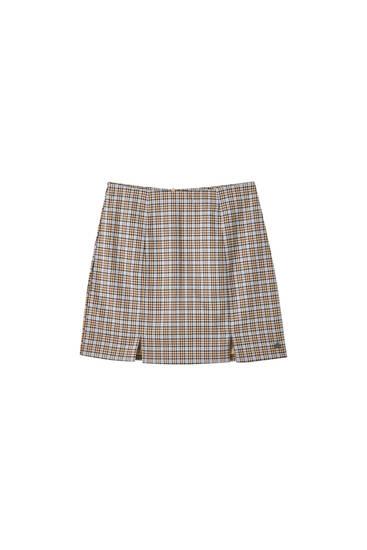 Check print mini skirt with slit details