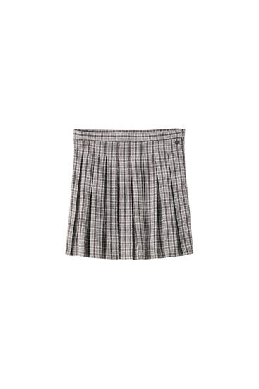 Check print box pleat skirt