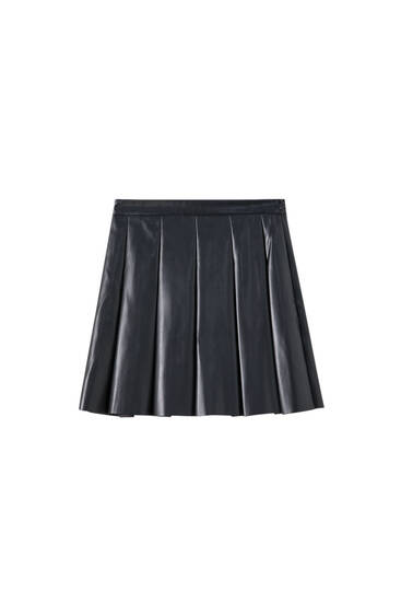 Faux leather mini skirt with box pleats