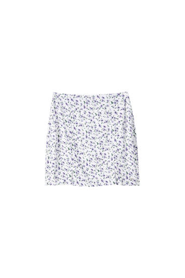 Floral print mini skirt with slit details