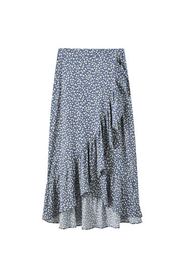 Wrap midi skirt with ruffles